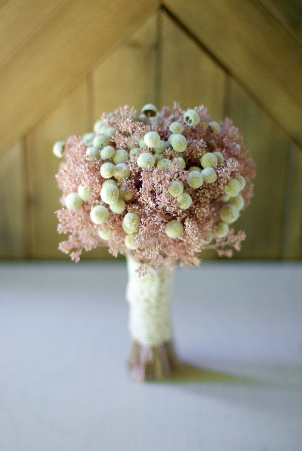 Pink and ivory dried flower bouquet, Pink babies breath, ivory ...