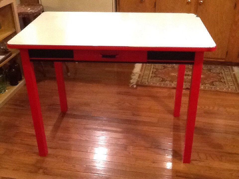 vintage white red black porcelain enamel top kitchen table rh pinterest com Tin Top Kitchen Table 1950 Enamel Tables