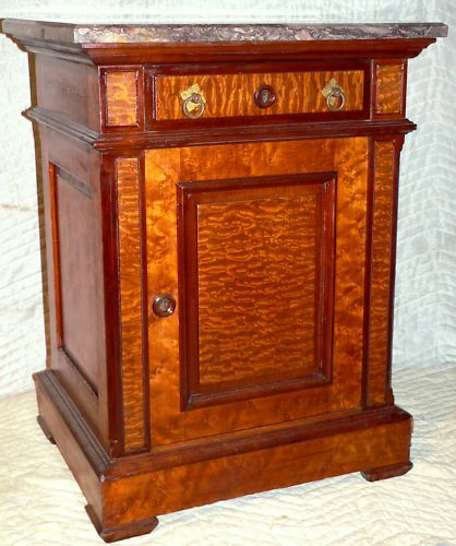 c1870 Aesthetic stand, poss Herter, quilted ash,be maple,purple mble, e15-3,8.