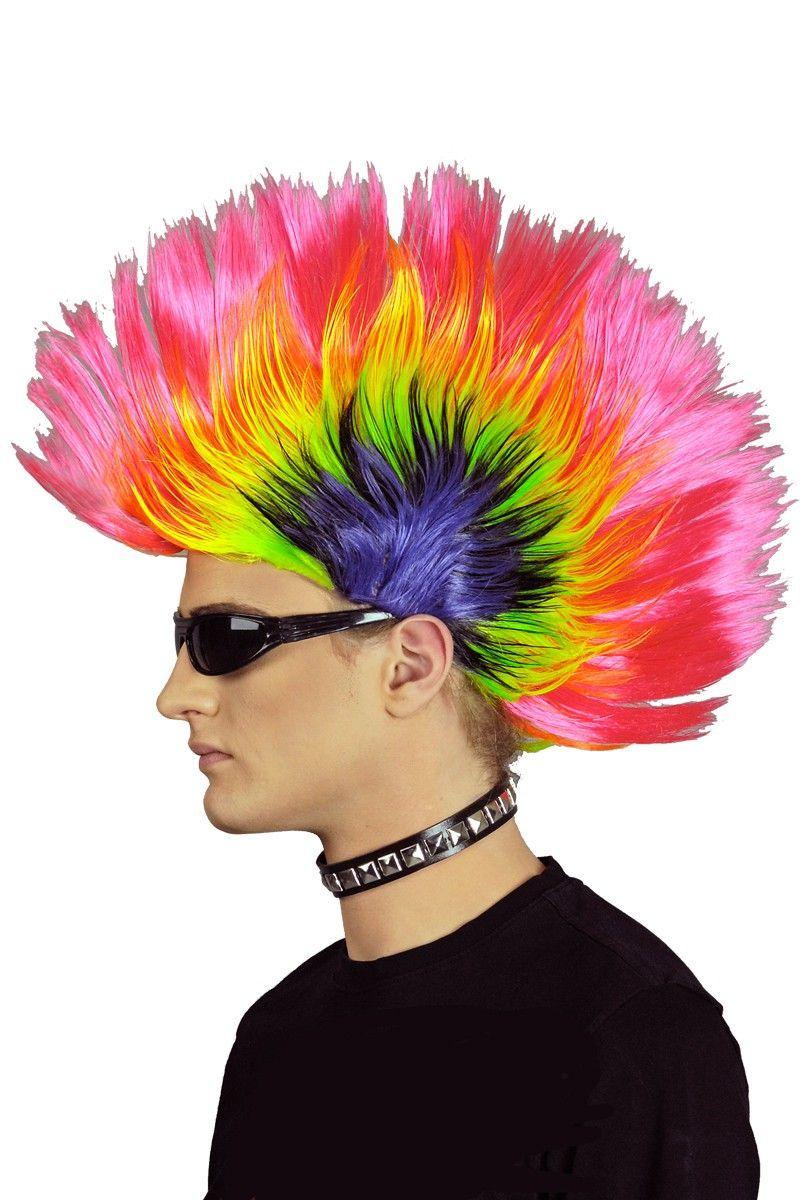 Punk Perucke Mit Irokesen Haarschnitt Bunt Leuchet Bei Uv Licht Perucken Frisur Irokese Irokese