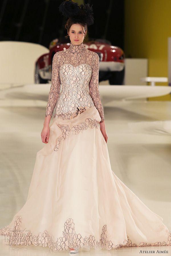 atelier aimee bridal 2014 ilena pink wedding dress black lace front