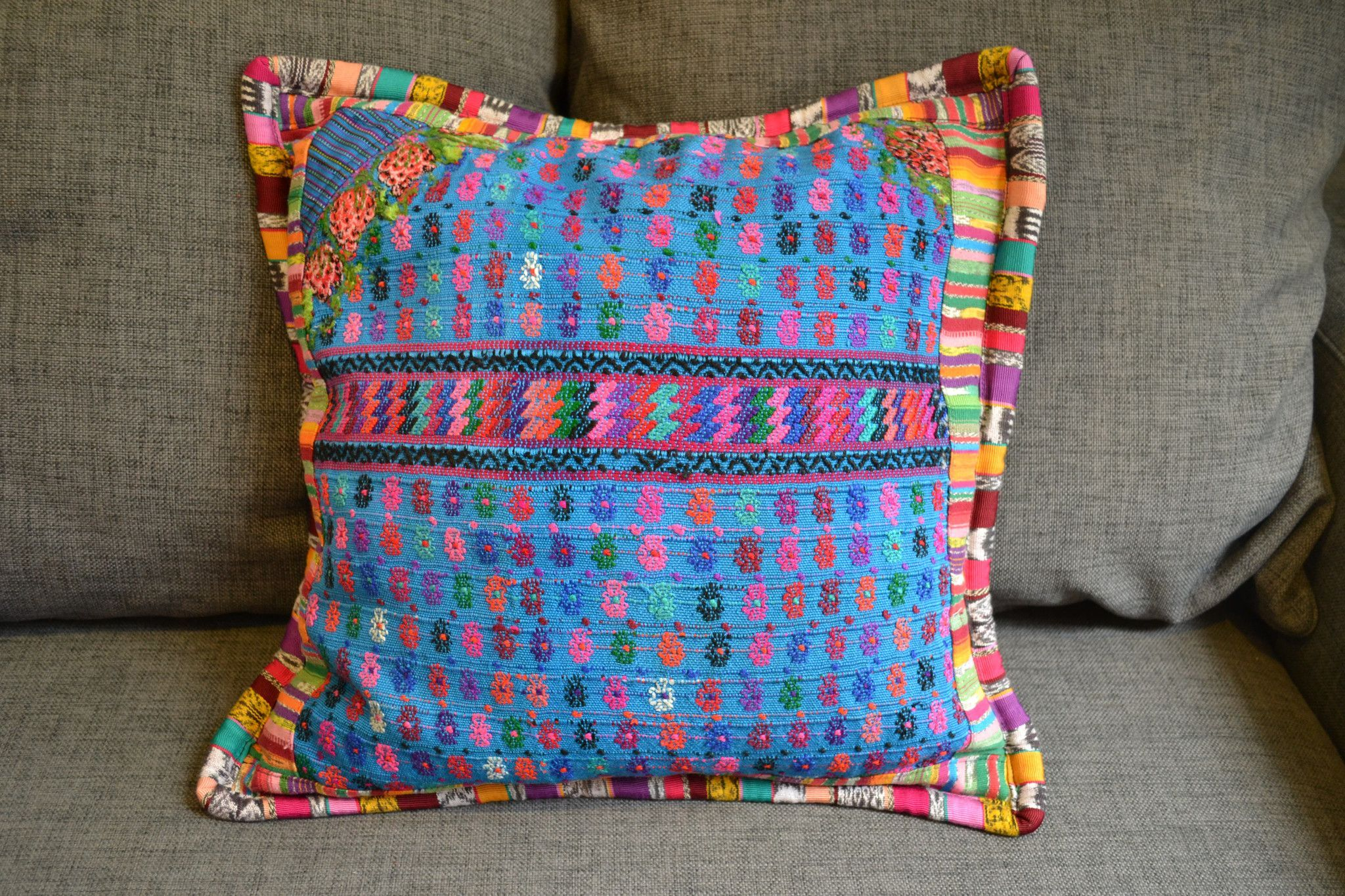 Blue vintage huipil cushion cover products pinterest pillows