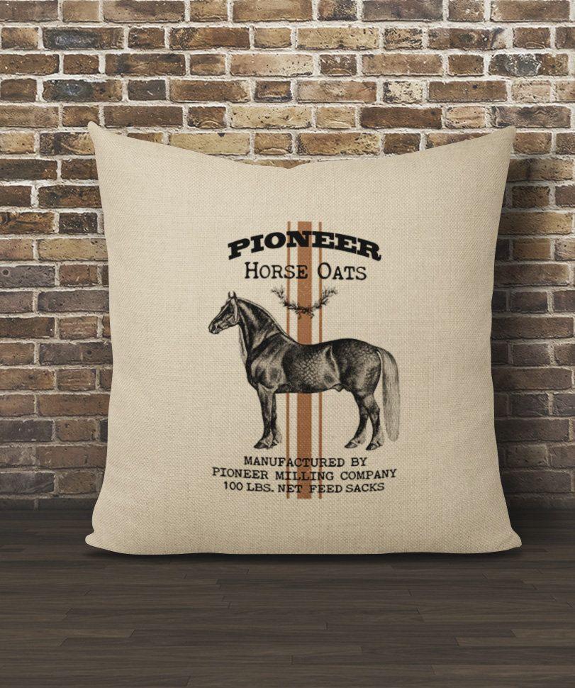Horse Pillow Cover Faux Burlap Pillow 16x16 Pillow Cover Horse Lover Pillow Cover Grain Sack Pillow Cover F Horse Pillow Burlap Pillows Grain Sack Pillows