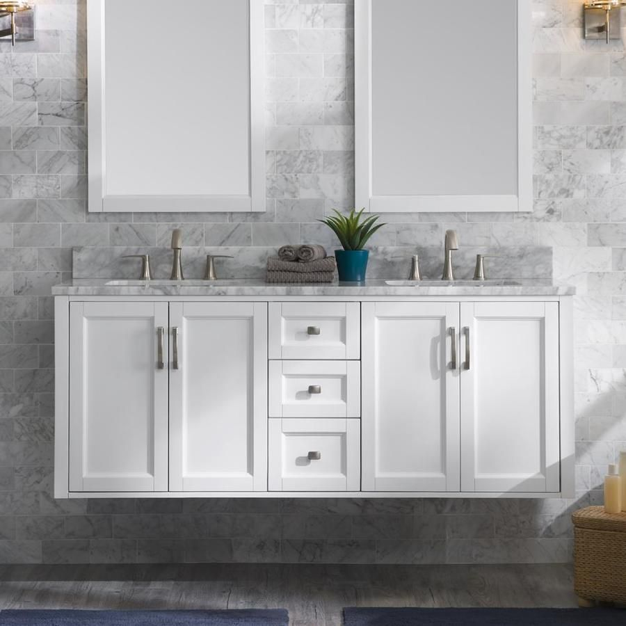 659 Allen Roth Floating 60 In White Double Sink Bathroom Vanity With Natural Carrara Marble Double Sink Bathroom Double Sink Bathroom Vanity Bathroom Vanity