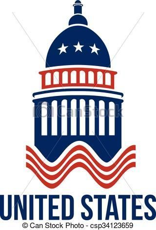united states capitol building logo in red white and blue rh pinterest com texas capitol building clipart capitol building washington dc clipart