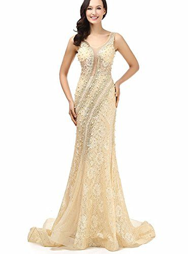 Everyouth Womens Scoopneck Beaded Sequins Mermaid Court Train Wedding Bridal Dress Champagne US16 ** Click image to review more details.