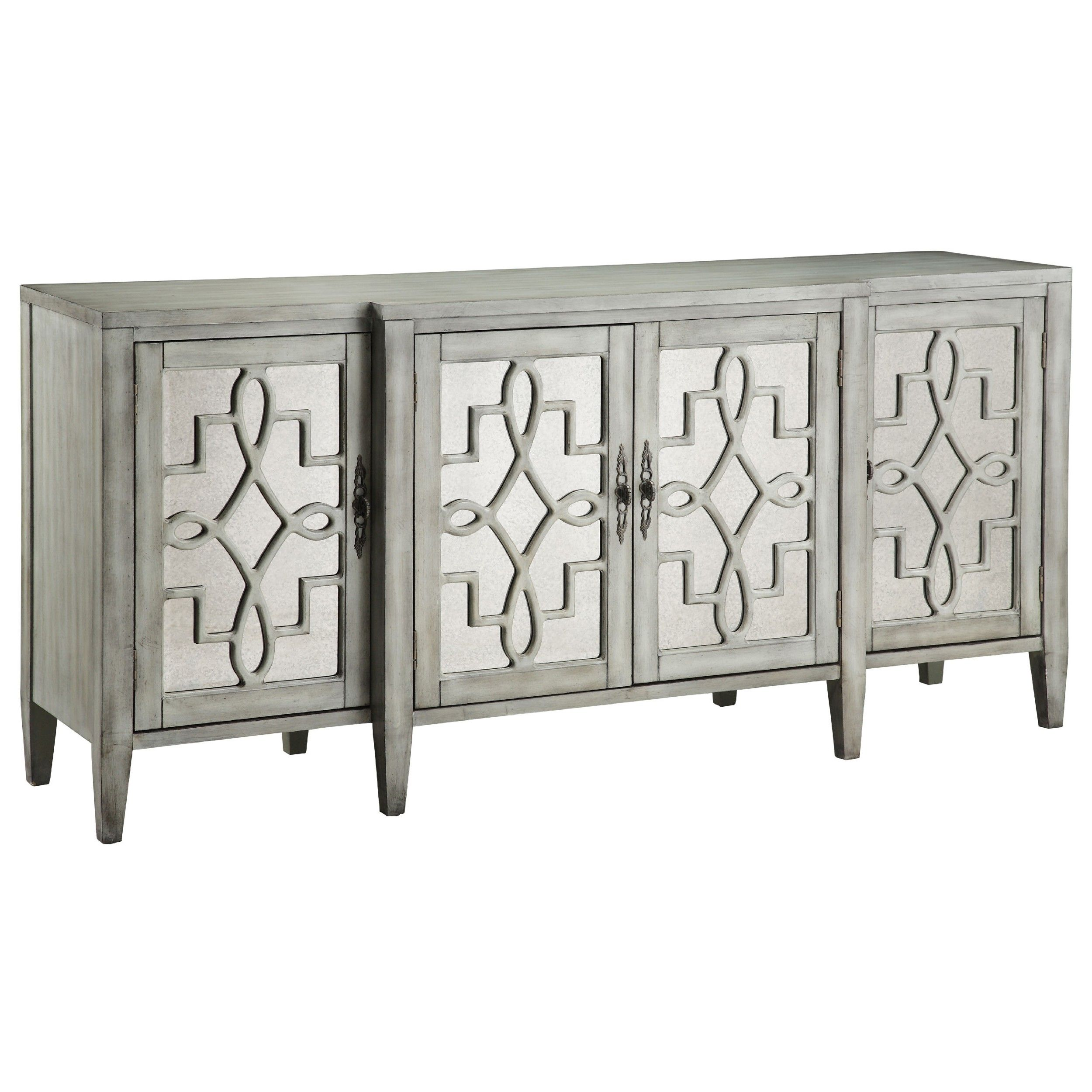 Antique Collection Mirrored Credenza Breakfront mirrored four-door credenza  features antique mirrored glass set behind intricate open scroll fretwork.
