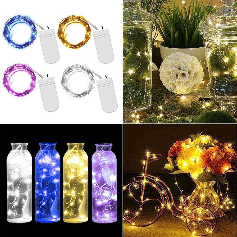 10 20 30 Led Battery Operated Copper Silver Wire String Fairy Lights Wiring Garden Uk Xmas Party