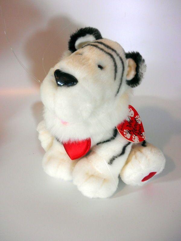 Hallmark White Tiger Plush Stuffed Animal Wild Red Heart Valentine 9