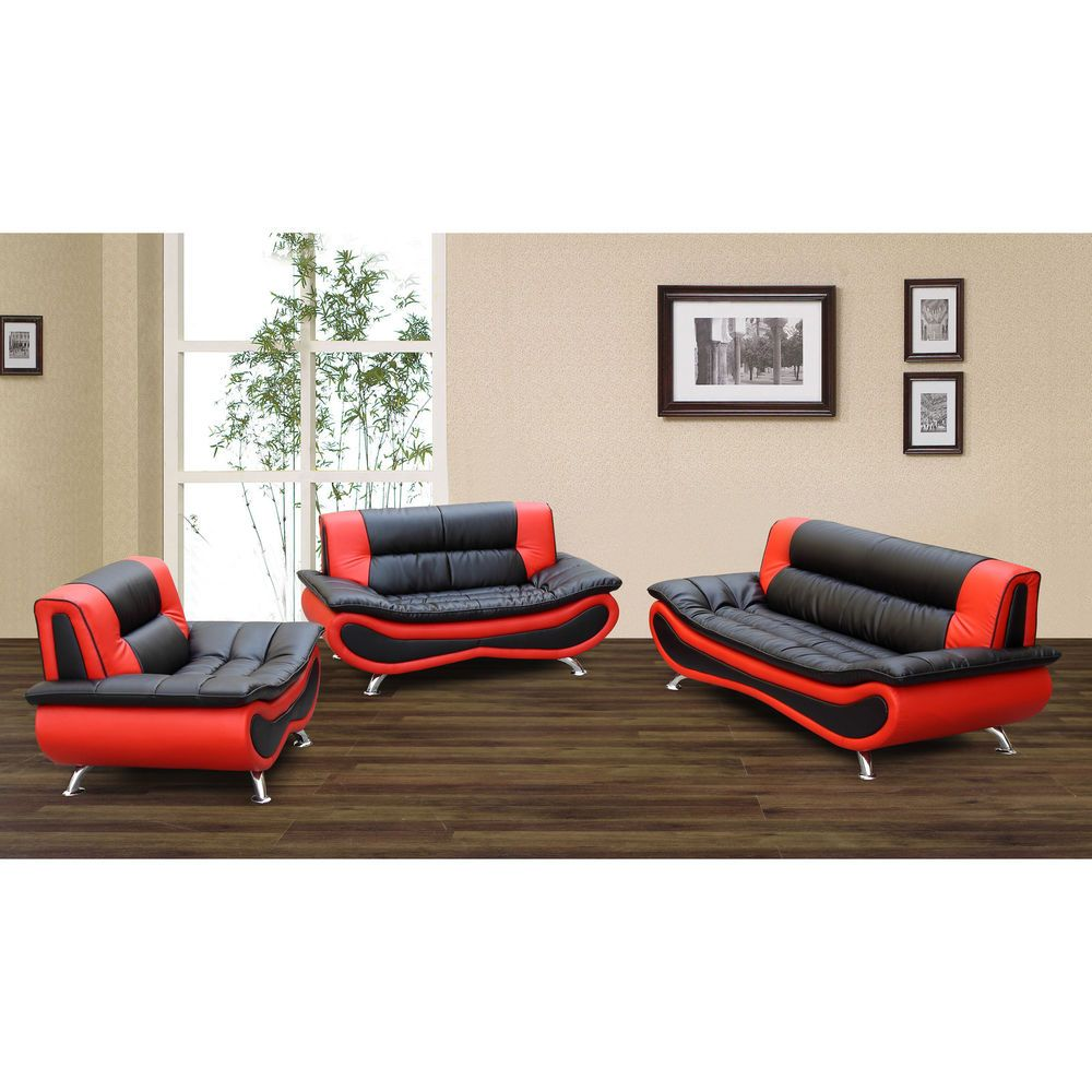 christina red black 2 tone bonded leather modern sofa set living rh pinterest com red and black leather sofas gumtree red and black leather sofa set