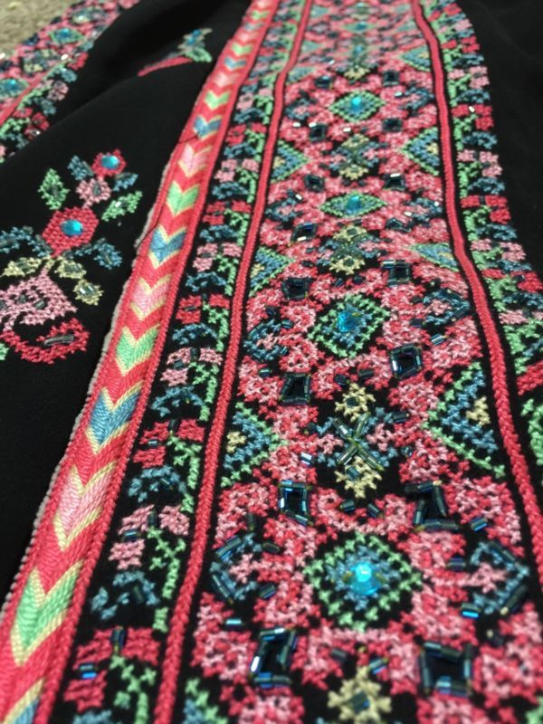 Palestinian Thobe dress wedding Bridal Kaftan embroidery Middle East Henna Beads