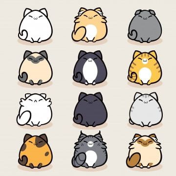 Cute Cat Character Collection Baby Character Cartoon Png And Vector With Transparent Background For Free Download Cat Character Cute Animal Drawings Cat Icon