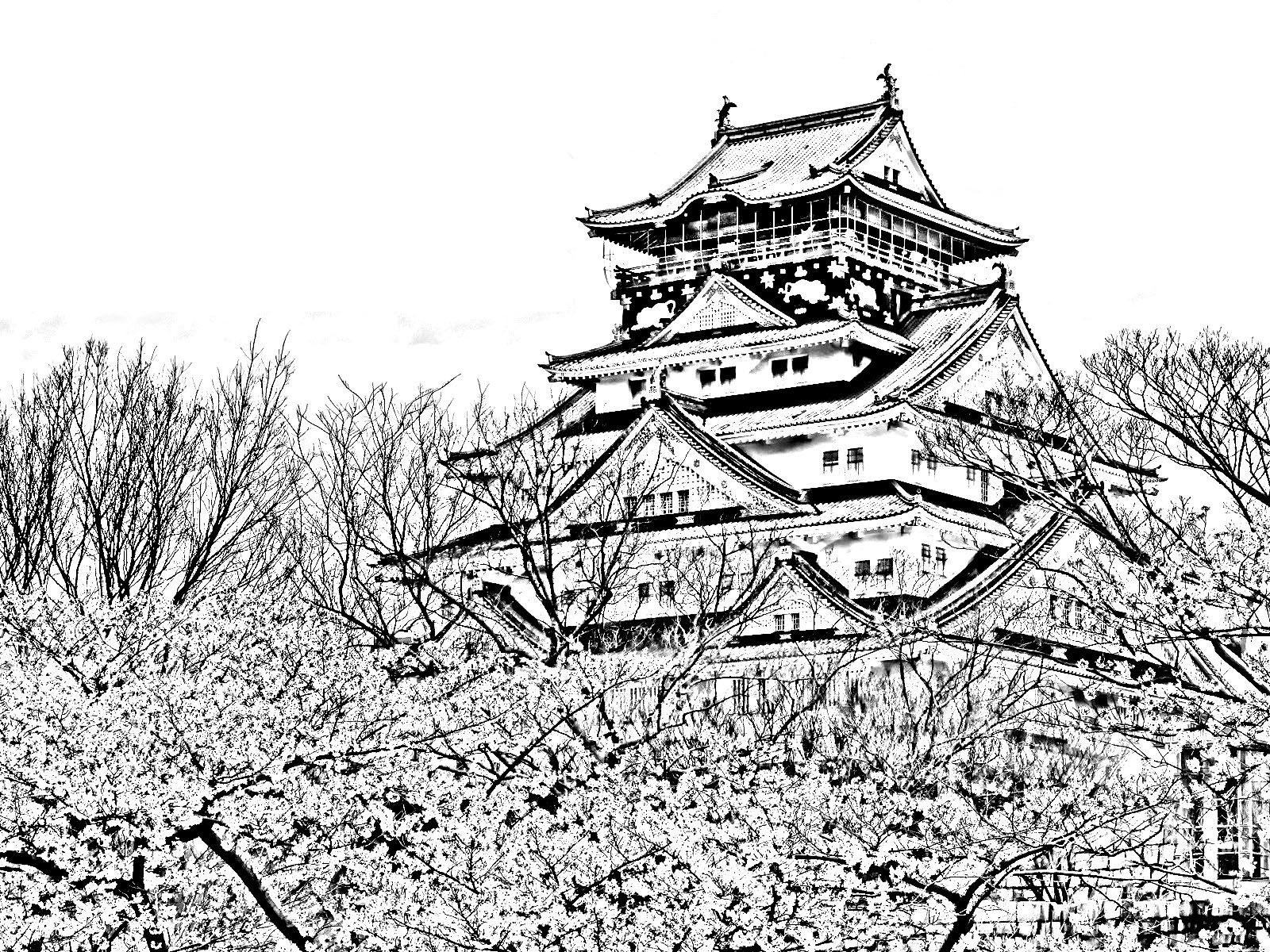 free coloring page coloring temple of the cherry blossom season
