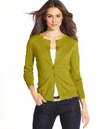 Long-Sleeve Silk-Blend Cardigan - Golden Green  (Macy's)