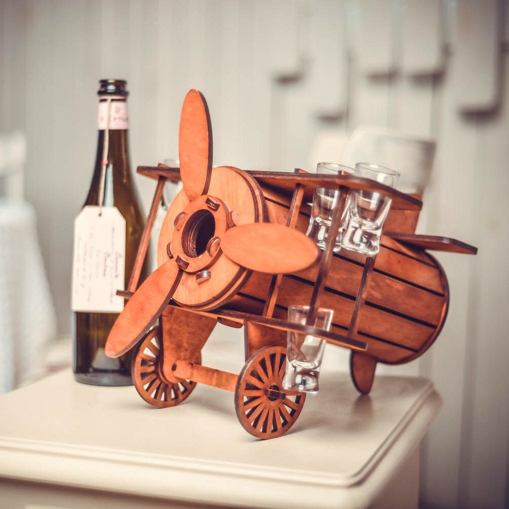Wooden Wine Bottle Holder Just A Perfect Gift Pay Attention To This Wonderful Gift Airplane Wine Wooden Wine Bottle Holder Vodka Gifts Wine Bottle Holders