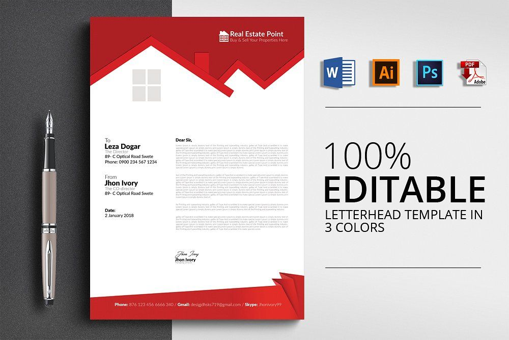 Real Estate Letterhead Template by Psd Templates on - psd letterhead template