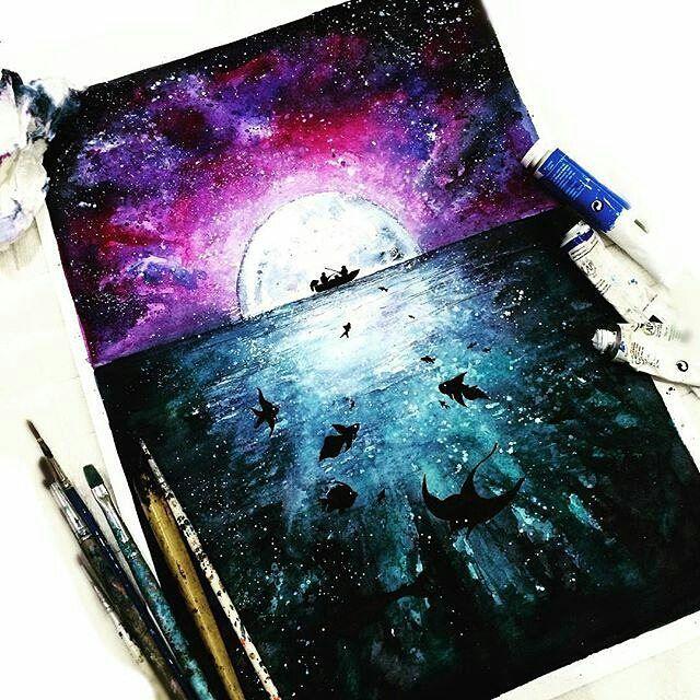 Космос рисунки акварелью