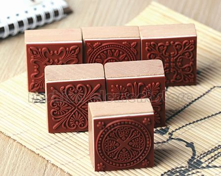 Vintage Scrapbooking Craft Alphabet Letter Rubber Stamps Set Wood Box Christmas Gift