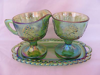 Indiana Glass Harvest Grape Creamer, Sugar Bowl & Under Plate Carnival Glass Set