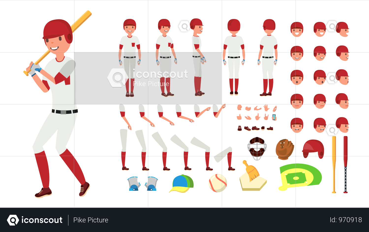Premium Animated Character Creation Set For Baseball
