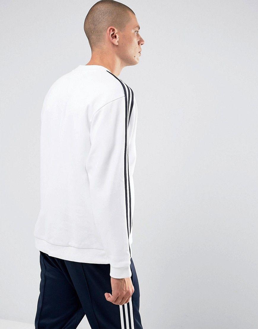 adidas Originals Adicolor Linear Crew Neck Sweat In White