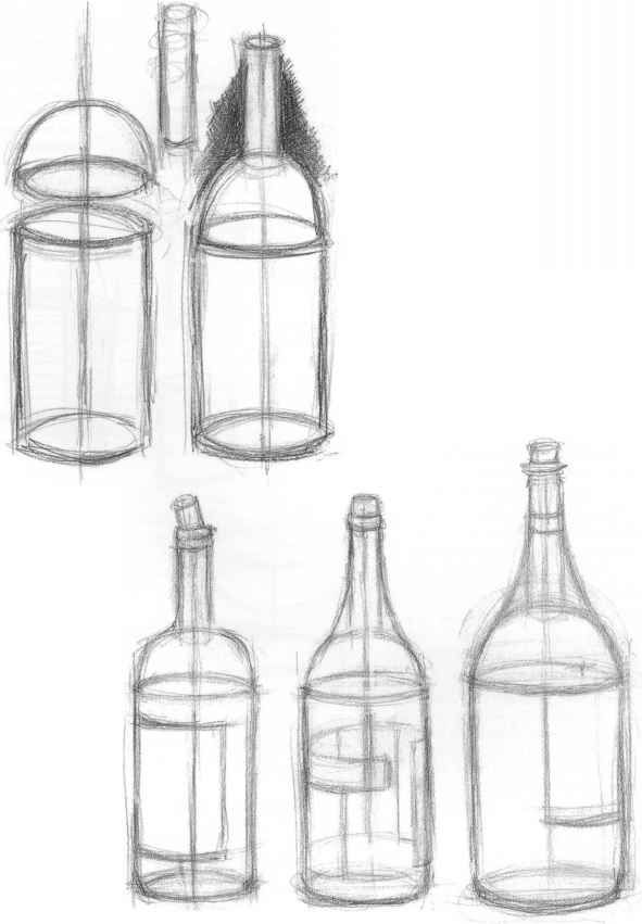 Bottles are fun to draw because you stack simple shapes to for Interesting bottle shapes
