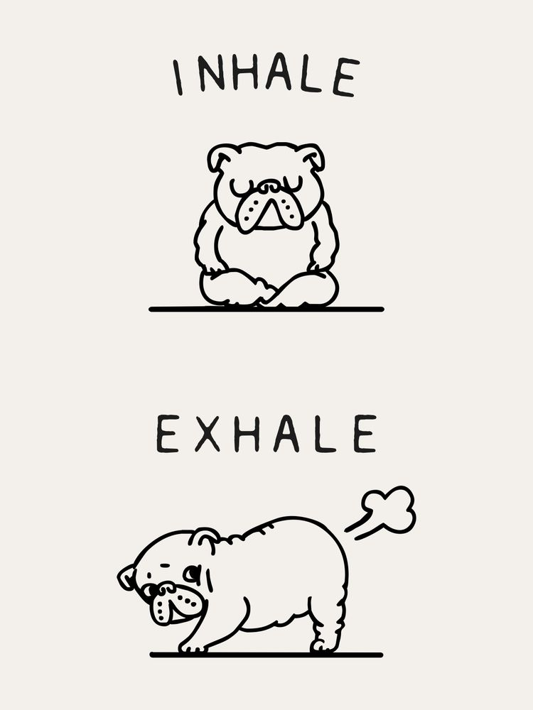 Inhale Exhale English Bulldog Mini Art Print by Huebucket - Without Stand - 3 x 4
