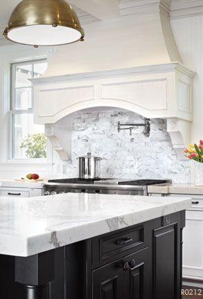AKDO Calacatta Marble Slabs And 2x4 Calacatta Gold Mosaic Backsplash