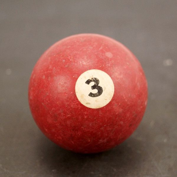 Vintage / Antique Clay Billiard Ball Red Number 3, Standard Pool Ball Size (c.1910s)