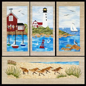"Sandpipers on Parade Wallhanging Pattern by Sweet Seasons Quilts at KayeWood.com. Visit busy docks and lighthouses, watch seagulls, pelicans and sandpipers play in the surf, roam the sand dunes, explore coastal rocks or just sail away! The four patterns that make up this series are ""Down at the Dock"", ""Harbor Light"", ""Out to Sea"", and ""Sandpipers on Parade."" http://www.kayewood.com/Sandpipers-on-Parade-Wallhanging-Pattern-by-Sweet-Season-Quilts-SSQ-SAPA.htm  $8.50"
