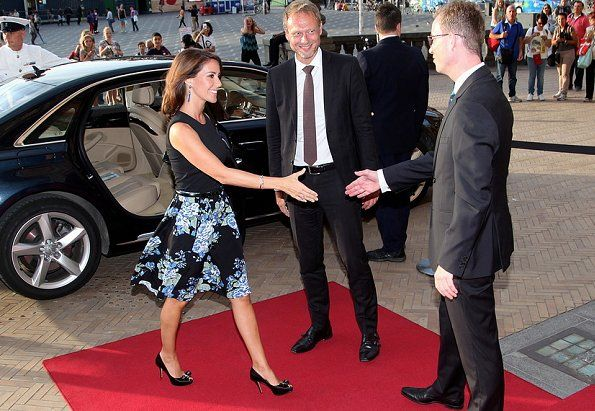 25 August 2016 - Princess Marie attends the opening of international food summit in Copenhagen - skirt by Ganni, shoes by Salvatore Ferragamo