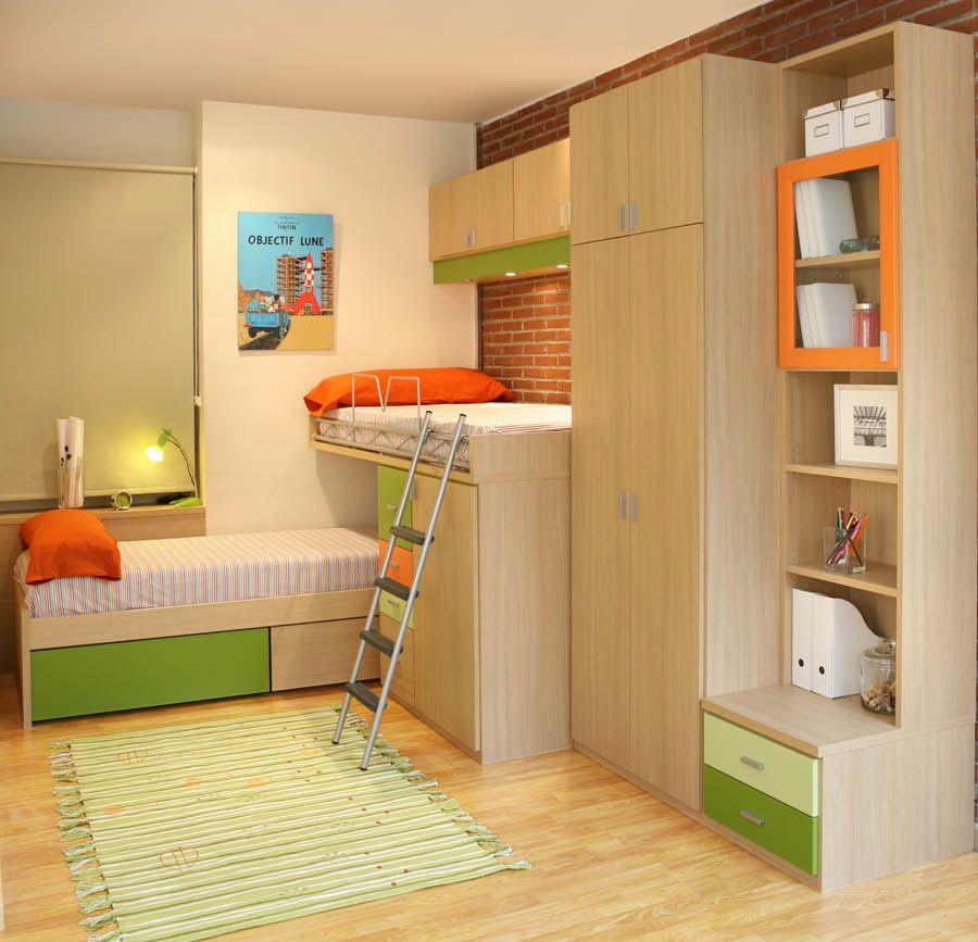r75 juvenil compacto de dos camas con cajones armarios con puente y biblioteca facil mobel