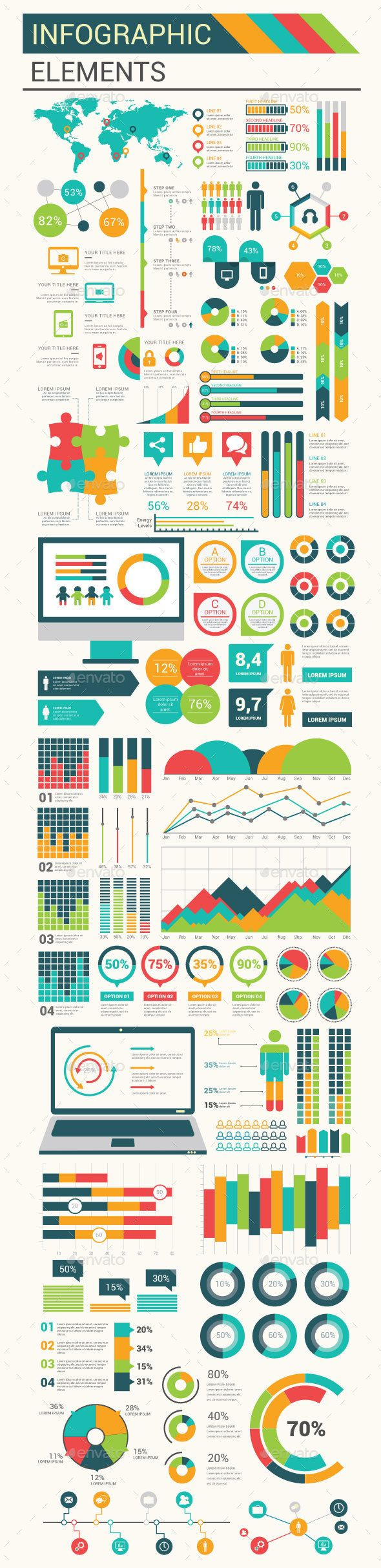 Infographic Flat Elements Template Vector EPS, AI Illustrator ...