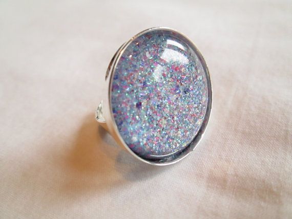 """Purple, Pink & Teal Glitter Nail Polish Adjustable Ring: 25mm / 1"""" Glass Circle in Silver Tray Ring Setting"""
