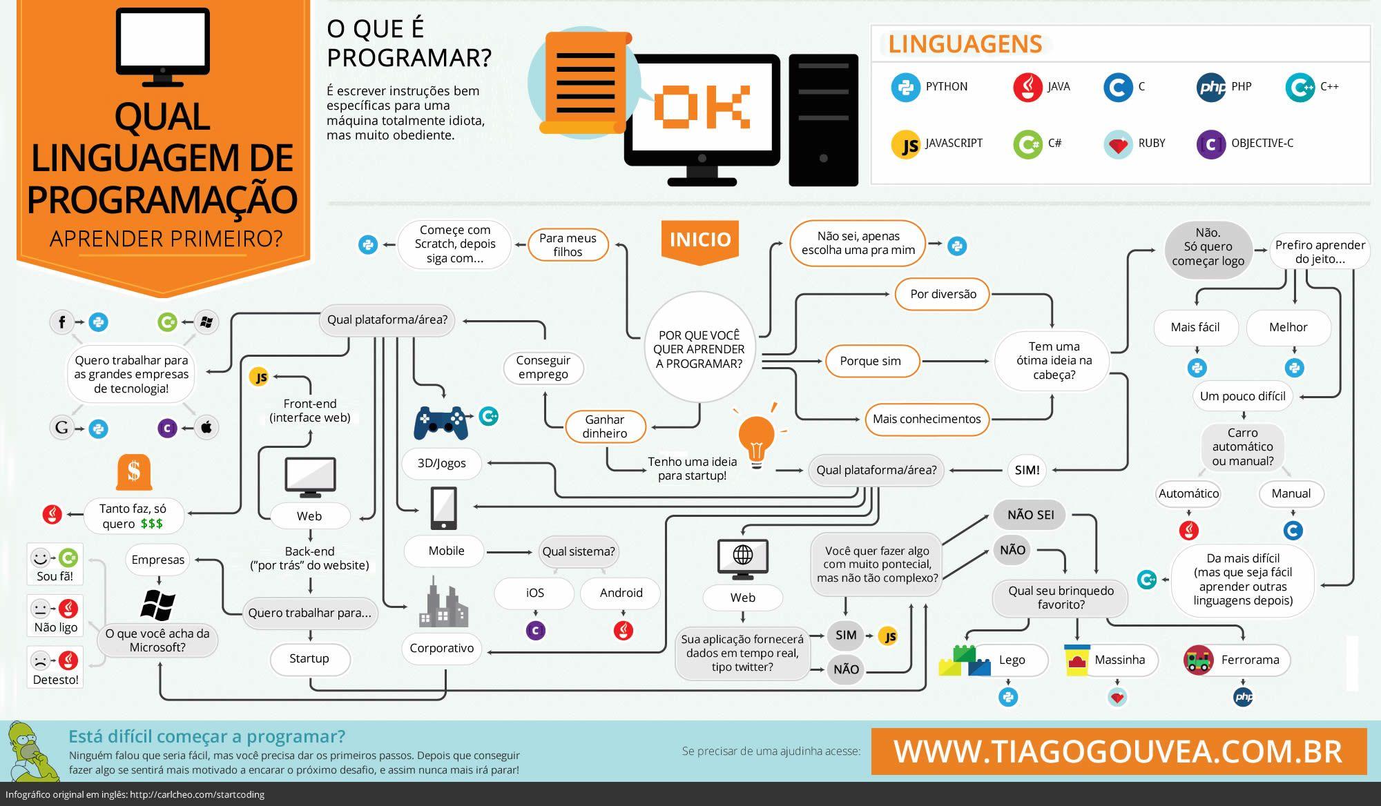 Qual linguagem de programação escolher - Infográfico