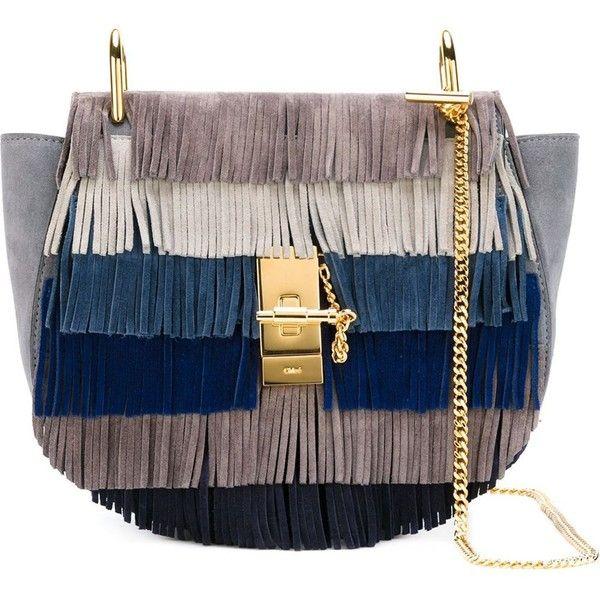 Chloé 'Drew' fringed shoulder bag (€1.595) ❤ liked on Polyvore featuring bags, handbags, shoulder bags, grey, suede fringe handbag, suede purse, suede handbags, grey handbags i gray handbags