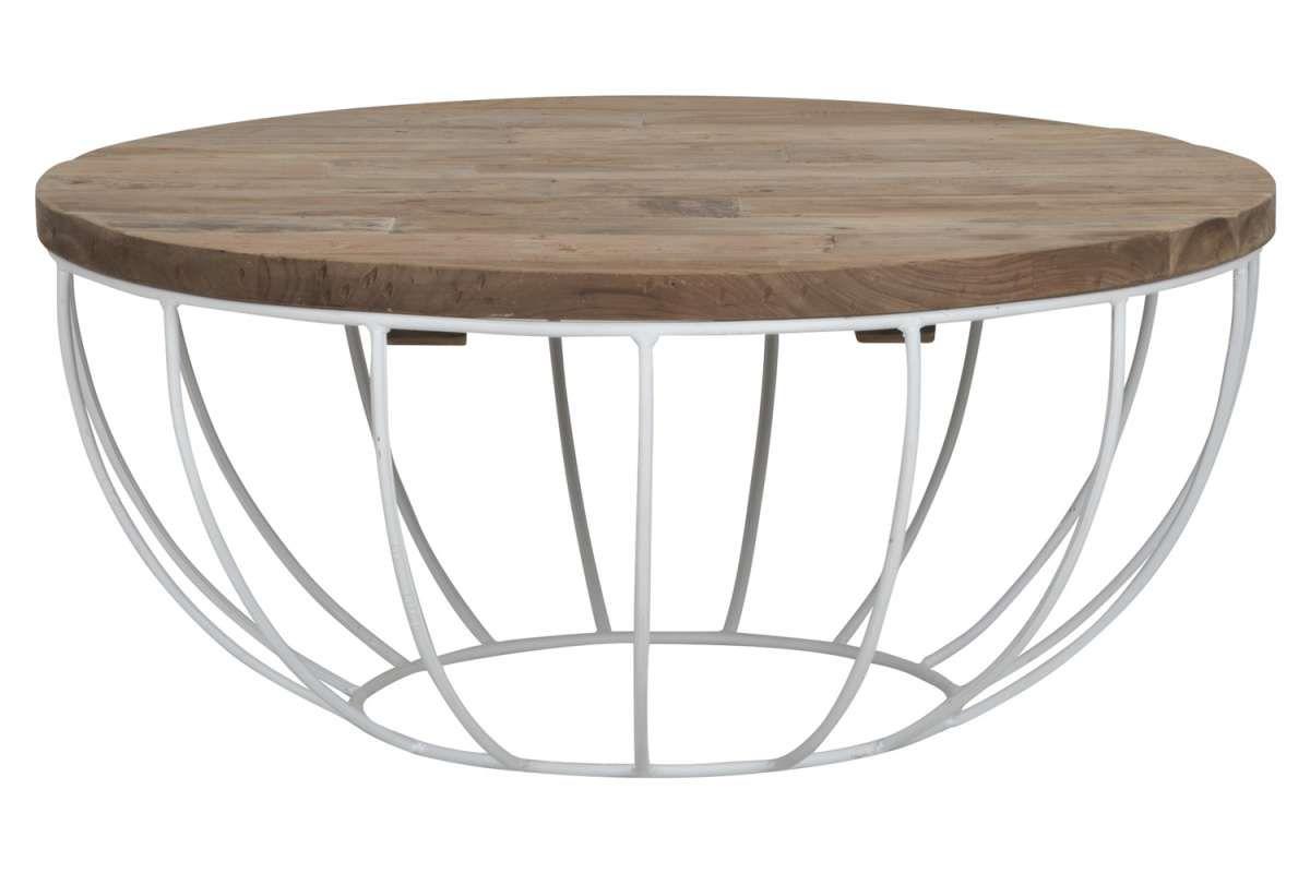 Couchtisch Madison 80 Cm Rund Metall Holz Korb Weiss Sofatisch Couchtisch Korb Korb Tisch Wohnzimmertisch Holz