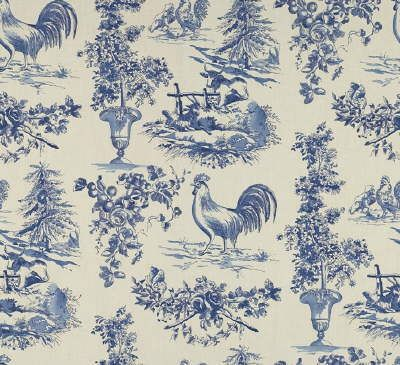 French Country Rooster Toile Fabric Blue Toile Fabric French