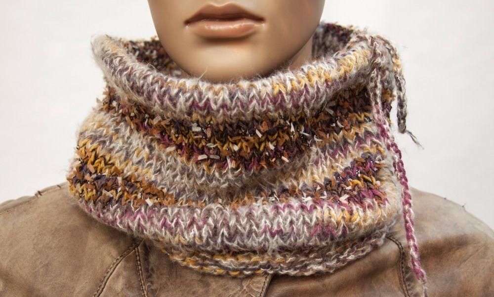 Bonnet Echarpe Snood Boho Hippie Oversize Long tricot à la main Rayée Colorant mélange Laine Coton