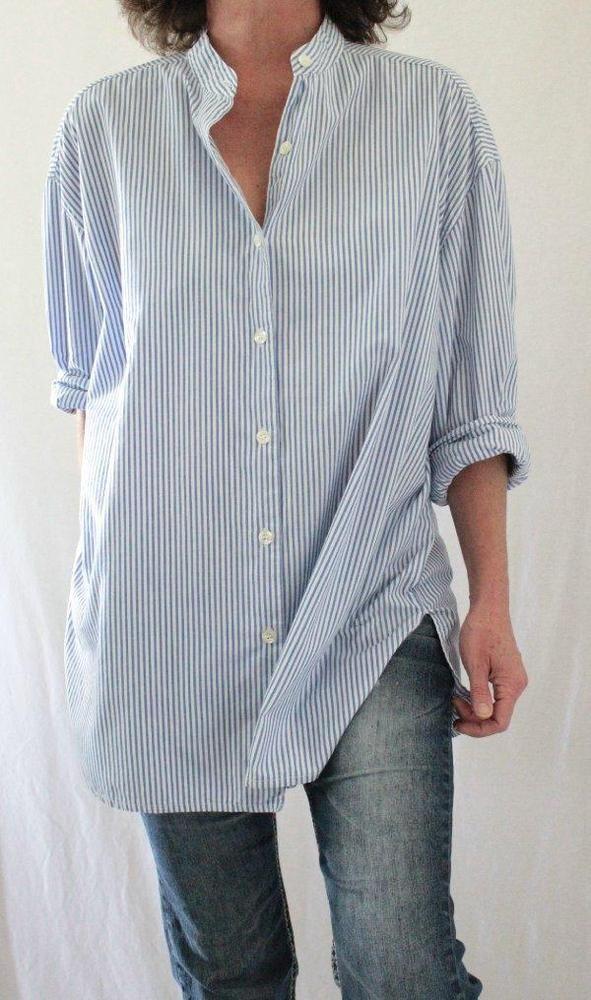 4dd8bc7baaed6 J. Jill Vintage Mandarin Collar Button Down Striped Oversize Tunic Blue Sz  L…