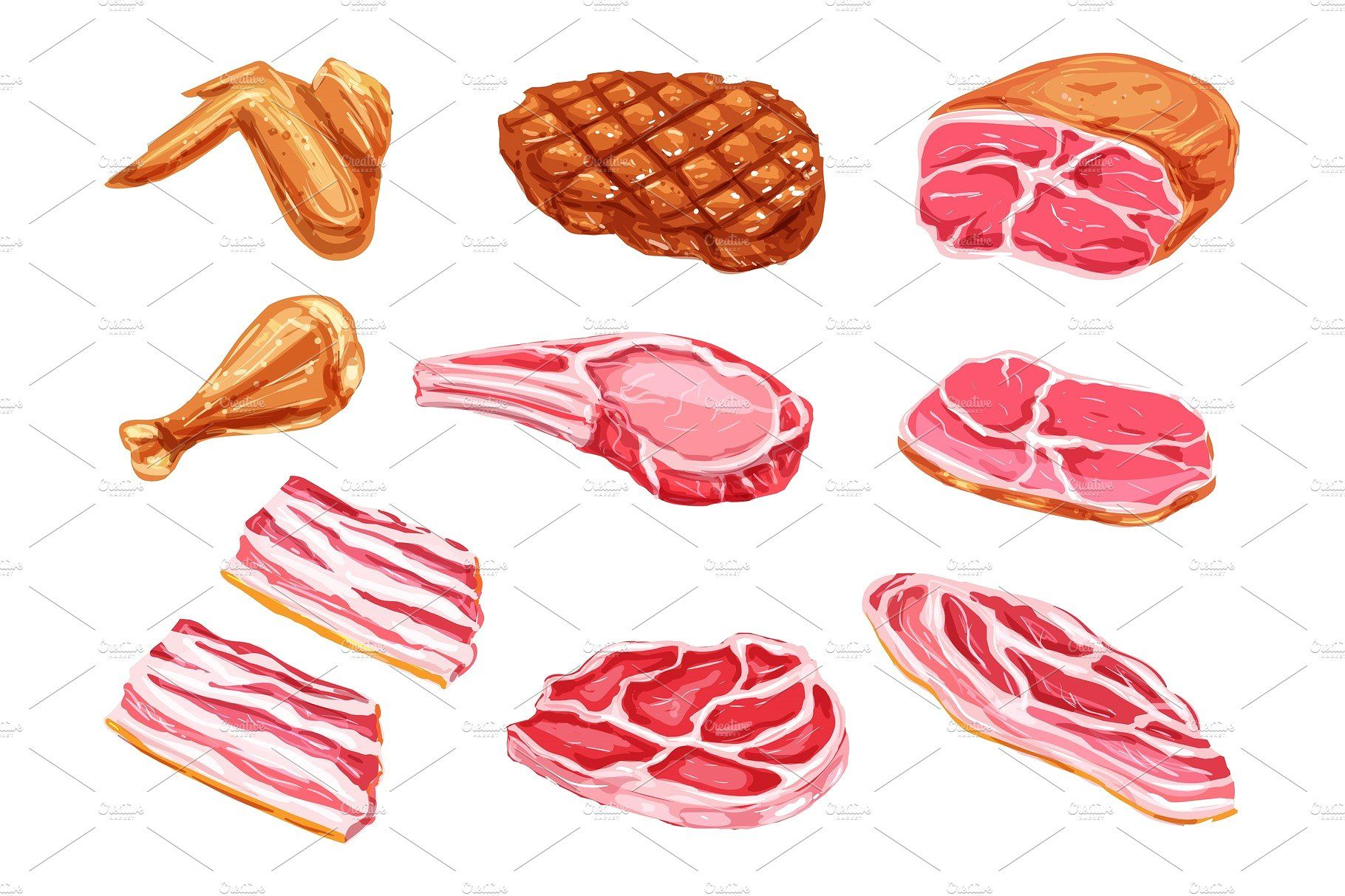 Vector Meat Products Watercolor Paint Icons Paint Icon