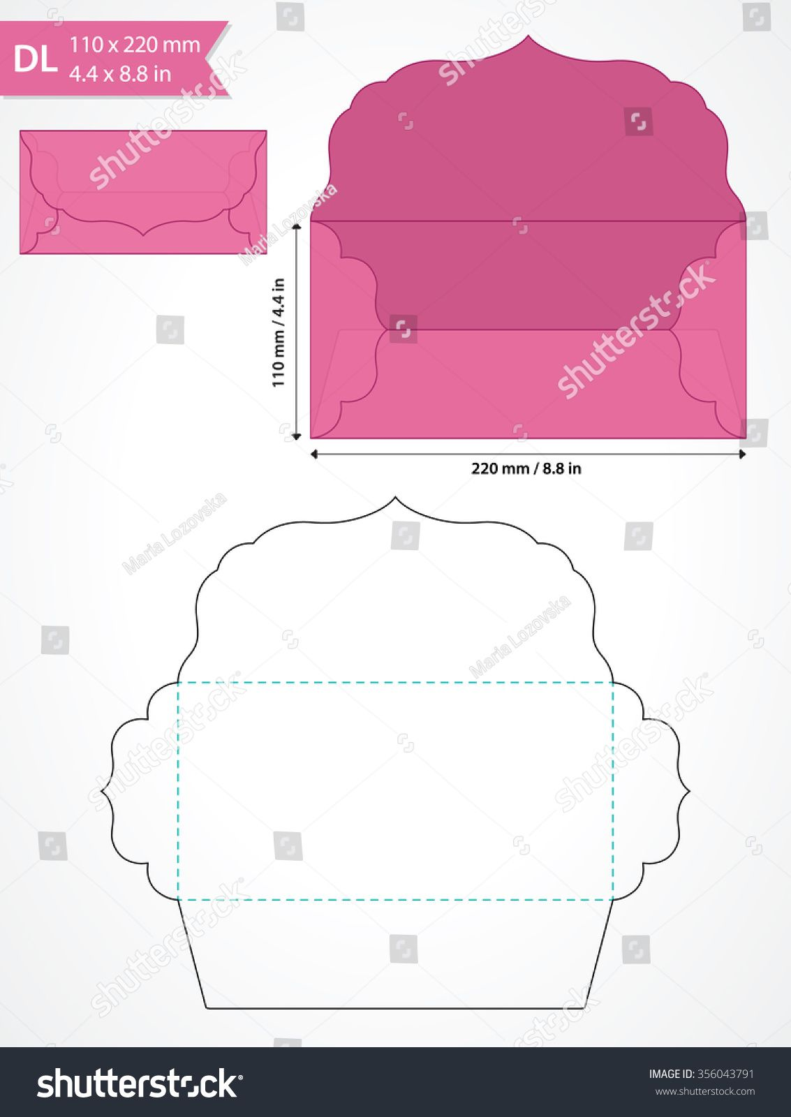 Die cut vector envelope template with swirly flap. | Kaarten ...