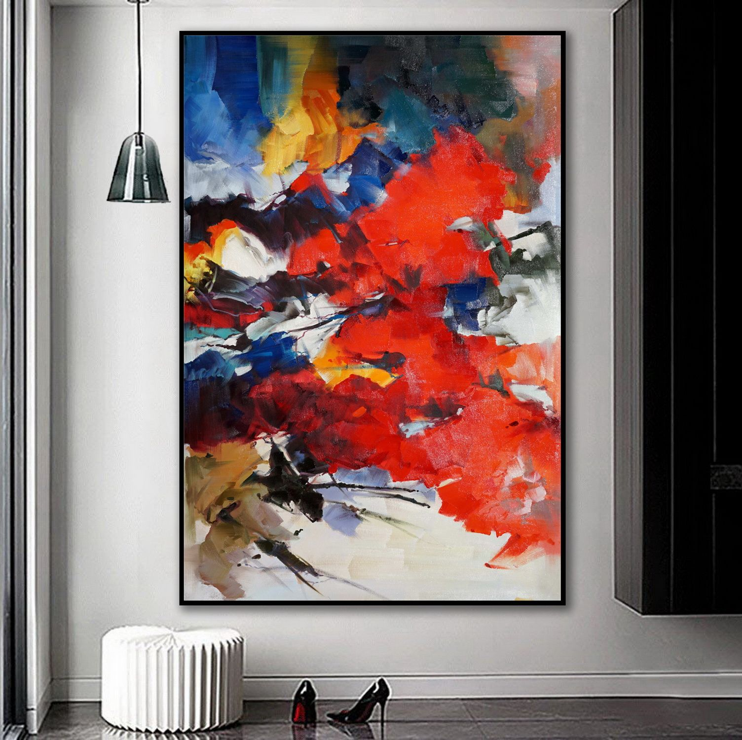 Beautiful Bright Color Modern Abstract Framed Wall Art Decor Extra Large Colorful Contemporary Brush Strokes Vertical Canvas Oil Painting Modern Art Abstract Abstract Abstract Canvas Art