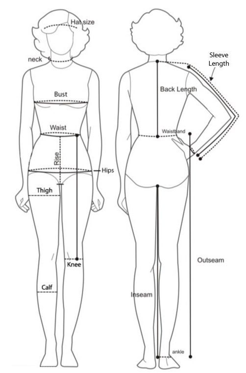 body measurement chart for women template