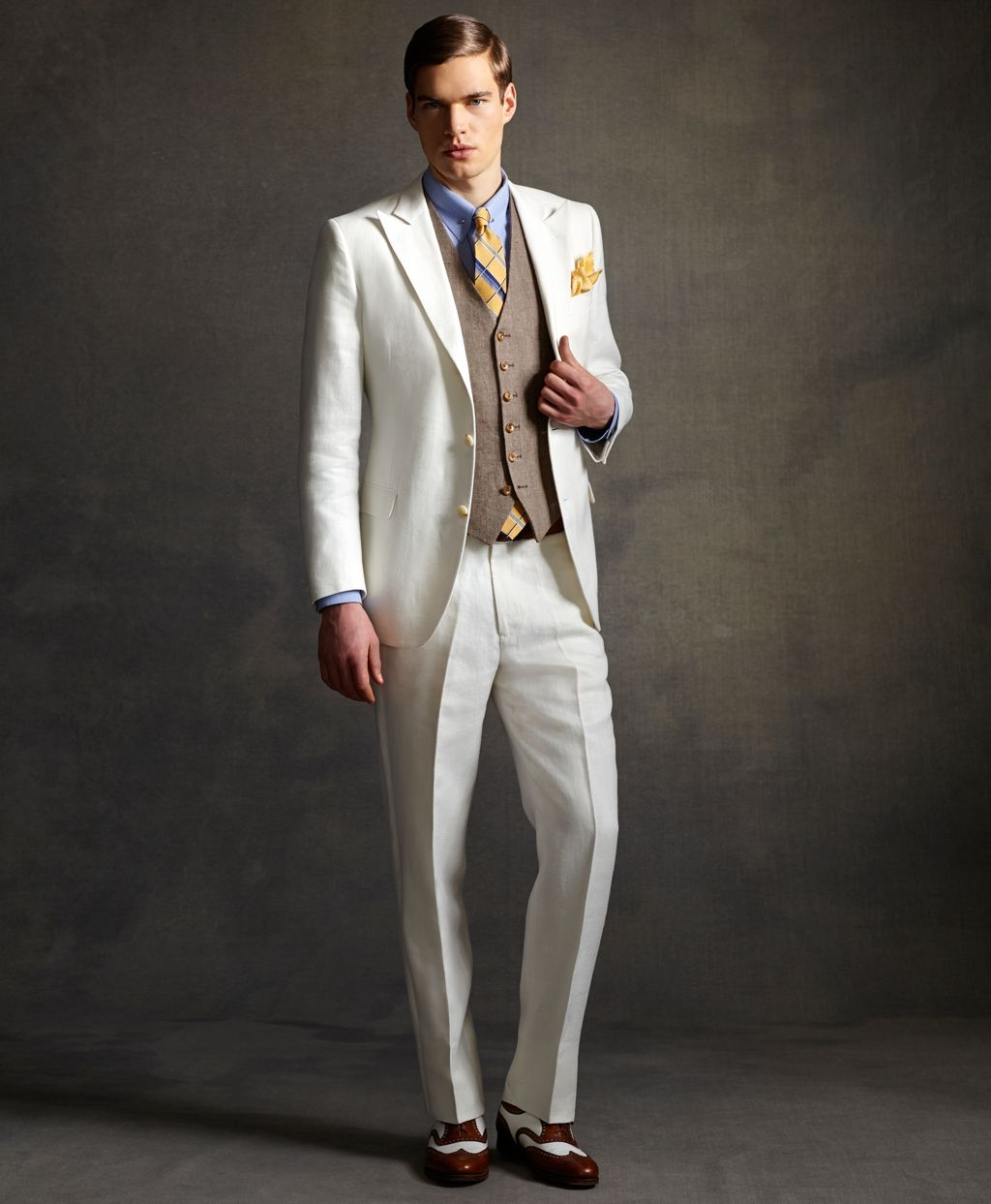 the great gatsby collection light brown linen vest
