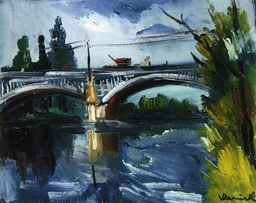 The Bridge - Maurice de Vlaminck Completion Date: 1910 Style: Post-Impressionism Genre: cityscape Technique: oil Material: canvas Dimensions: 34 x 41 cm Gallery: Private Collection