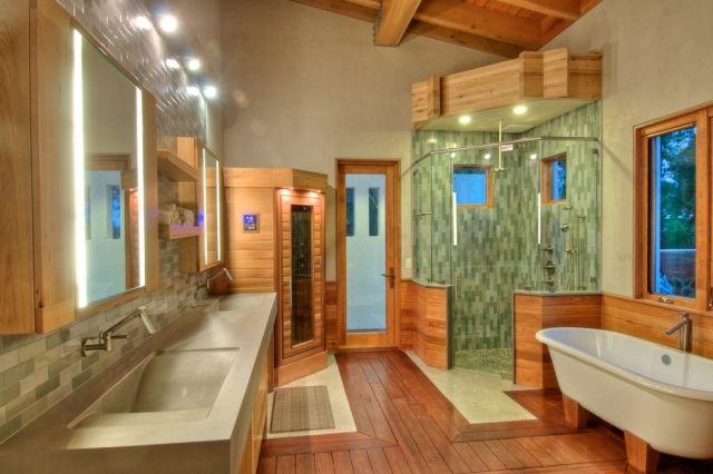 badezimmer-wellness-ambiente-glasdusche-ecke-kleine-sauna - sauna im badezimmer