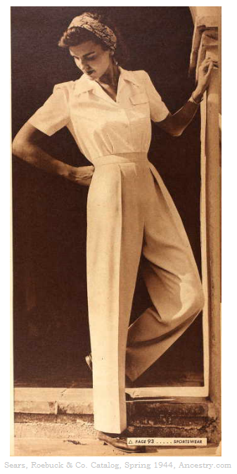 During the 1940's women started to wear slacks, high waisted