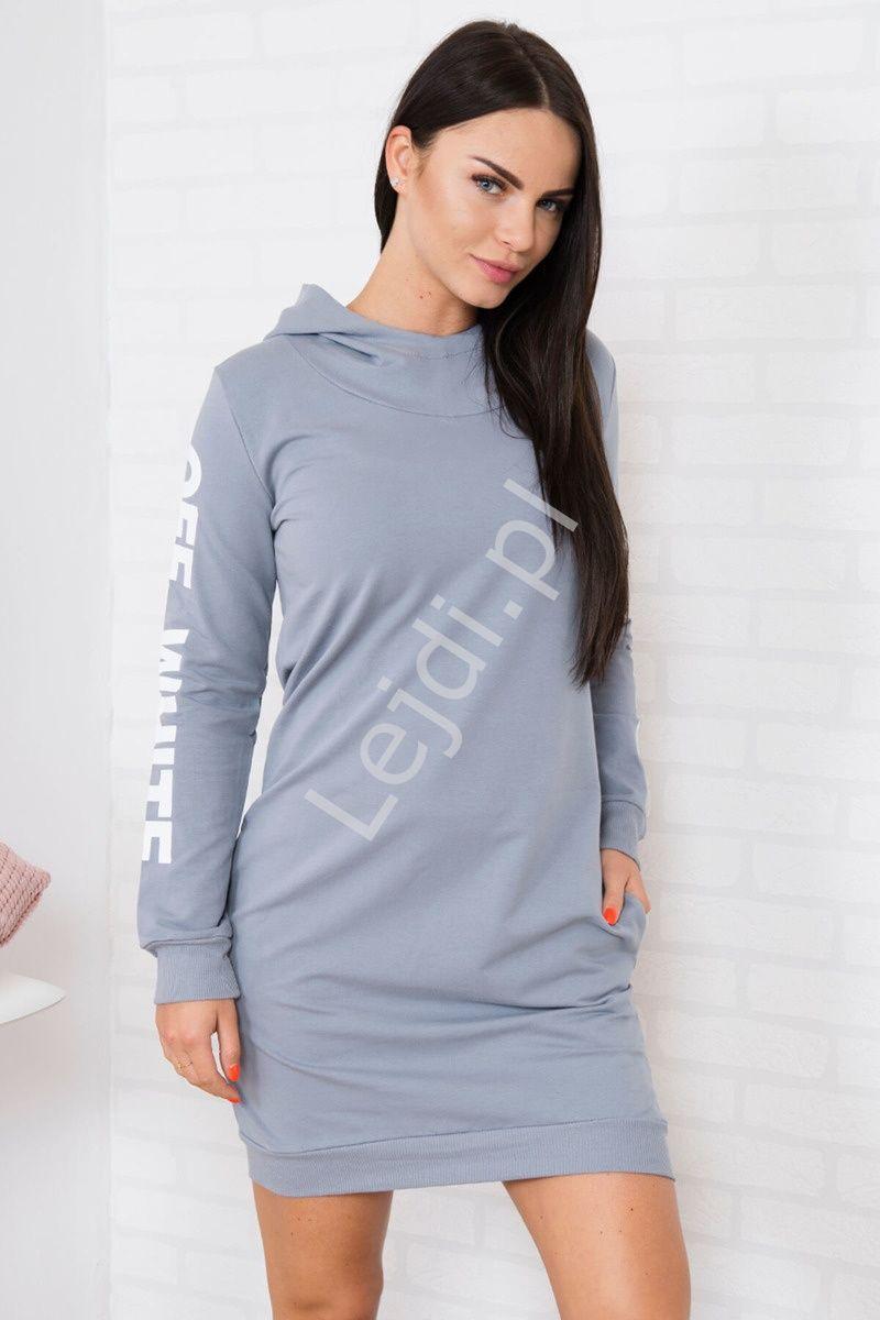 c090bd8a43 Szara sportowa sukienka dresowa z kapturem - Lejdi w 2019