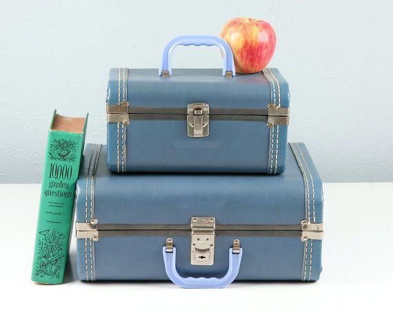 Vintage Kids Luggage Set Vintage Suitcase Blue by Retroburgh ...